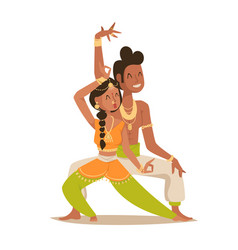 indian woman man dancing isolated dancers vector image