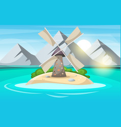 island cartoon mountain sun cloud wind mill vector image