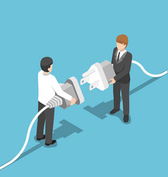 isometric two businessmen connecting plug together vector image