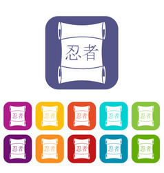 Japanese traditional scrol icons set flat vector