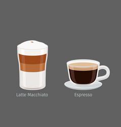 Latte macchiato and espresso coffee vector