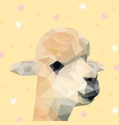low poly alpaca background vector image