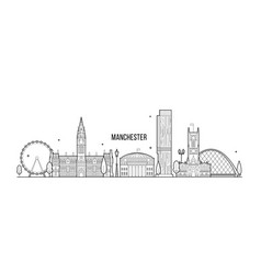 manchester greater england uk skyline line vector image
