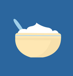 Mashed potatoes in bowl with cutlery icon vector