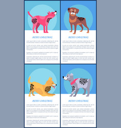 merry christmas posters set with playful dogs vector image