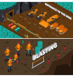 Miner People Isometric Banners vector image