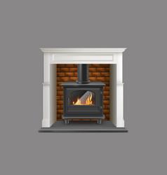Modern fireplace with metallic firebox vector