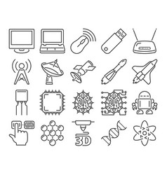 Modern line style icons high technology vector