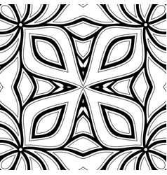 Monochrome seamless pattern with floral ethnic vector