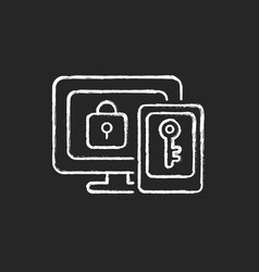 Multi-factor authentication chalk white icon vector
