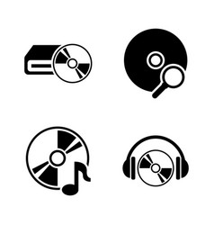 musical compact disk simple related icons vector image