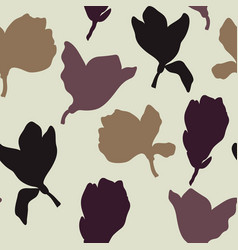 neutral floral silhouette repeat seamless pattern vector image