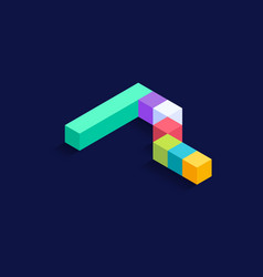 number 7 isometric colorful cubes 3d design vector image