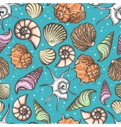 Ocean seamless pattern with colorful seashells vector