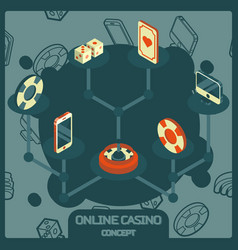 online casino concept color isometric icons vector image