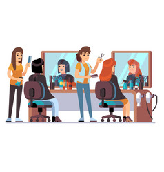 people in barber shop hairdresser making female vector image