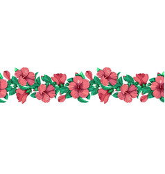 pink hibiscus with leaves vector image