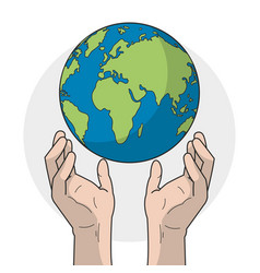 planet and hands design vector image