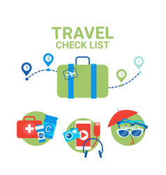 Planning vacation suitcase with packing items vector