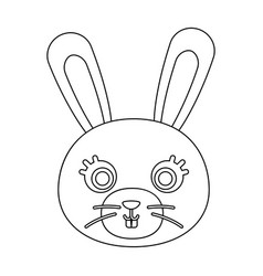 Rabbit muzzle icon in outline style isolated on vector