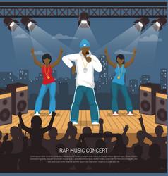 Rap music concert flat poster vector