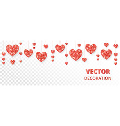 Red hearts frame border glitter isolated vector