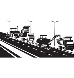 Replacement asphalt pavement on highway vector