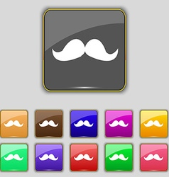 Retro moustache icon sign Set with eleven colored vector