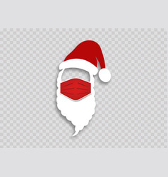 santa claus in a medical mask for health christmas vector image