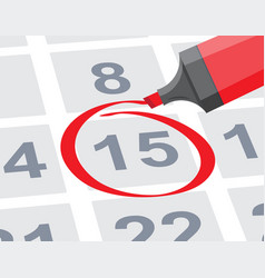 Save the date with red circle mark on calendar vector