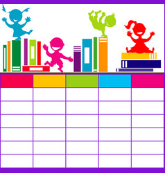 school timetable with books and cartoon kids vector image