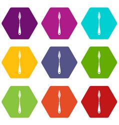 Scraper icon set color hexahedron vector