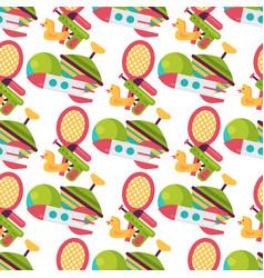 seamless pattern background full kid toys cartoon vector image