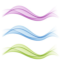 set of abstract flow transparent color wave vector image