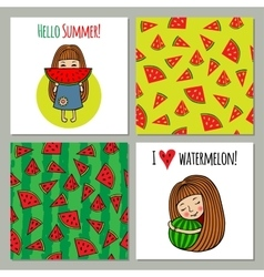 Set of backgrounds watermelon and sweet girls vector image