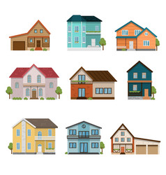 set of houses front view icons isolated on white vector image