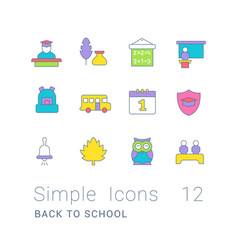 Set simple line icons back to school vector