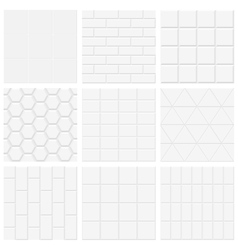 Set white tiled texture backgrounds vector