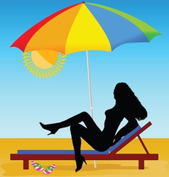 Sexy and hot girl on the beach vector
