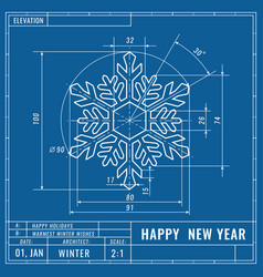 snowflake as technical blueprint drawing vector image