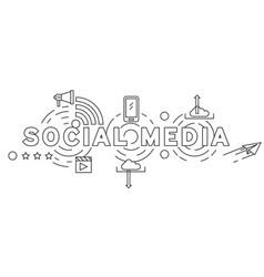 social media line art vector image