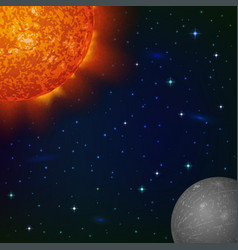 Space background with mercury and sun vector