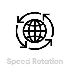 speed rotation globe icon editable stroke vector image