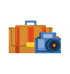 suitcase travel with camera photographic vector image
