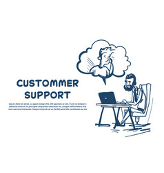 Support center headset agent man client bubble vector