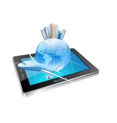 tablet and plane vector image
