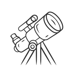 Telescope linear icon moon planets exploration vector