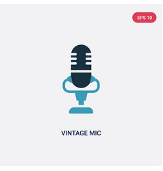 two color vintage mic icon from technology vector image