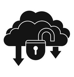 Unlock data cloud icon simple style vector