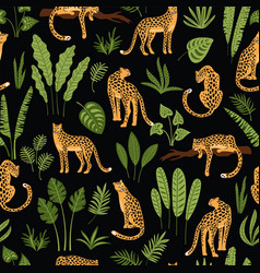 vector seamless pattern with leopards and tropical vector image